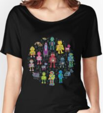 Robots in Space - black - fun pattern by Cecca Designs Women's Relaxed Fit T-Shirt