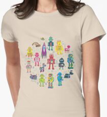 Robots in Space - black Womens Fitted T-Shirt