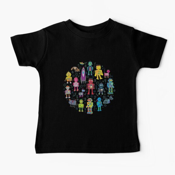 Robots in Space - black - fun pattern by Cecca Designs Baby T-Shirt