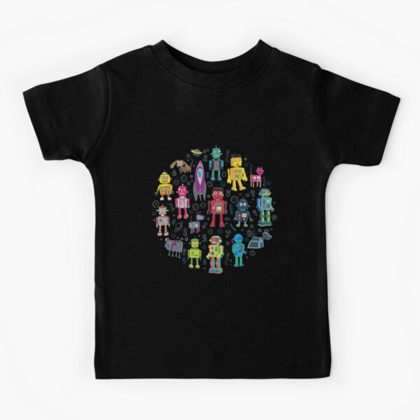 Robots in Space - black - fun pattern by Cecca Designs Kids T-Shirt