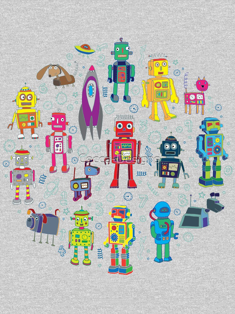 Robots in Space - black - fun pattern by Cecca Designs by Cecca-Designs