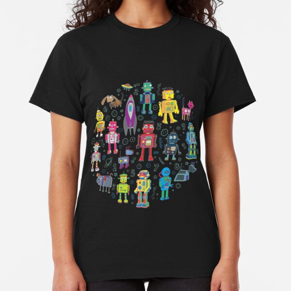 Robots in Space - black - fun pattern by Cecca Designs Classic T-Shirt