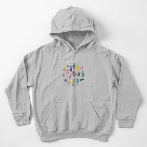 Robots in Space - black - fun pattern by Cecca Designs Kids Pullover Hoodie