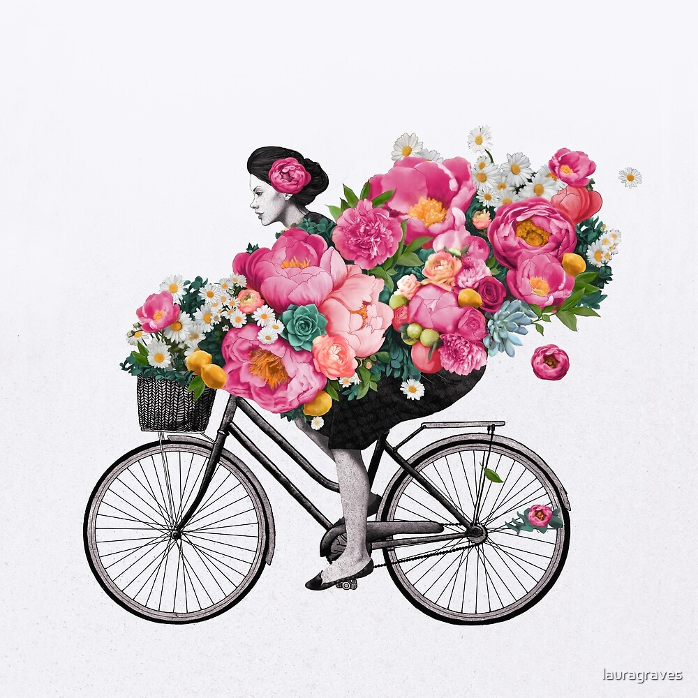 floral bicycle  by lauragraves