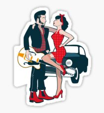 Rockabilly Couple with Car Sticker