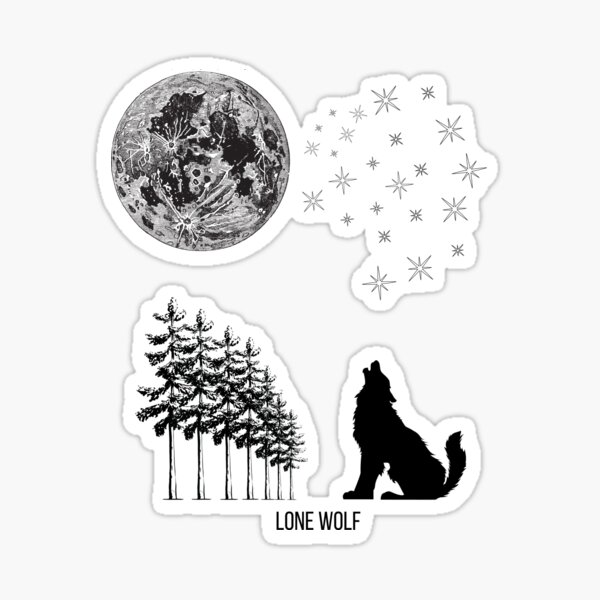 Lone Wolf Howling at the Moon Grey Sticker
