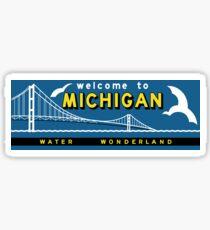 Pegatina Bienvenido a Michigan, Vintage Road Sign 60s, Estados Unidos