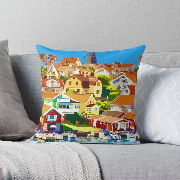 Swedish Fishing Village Throw Pillow