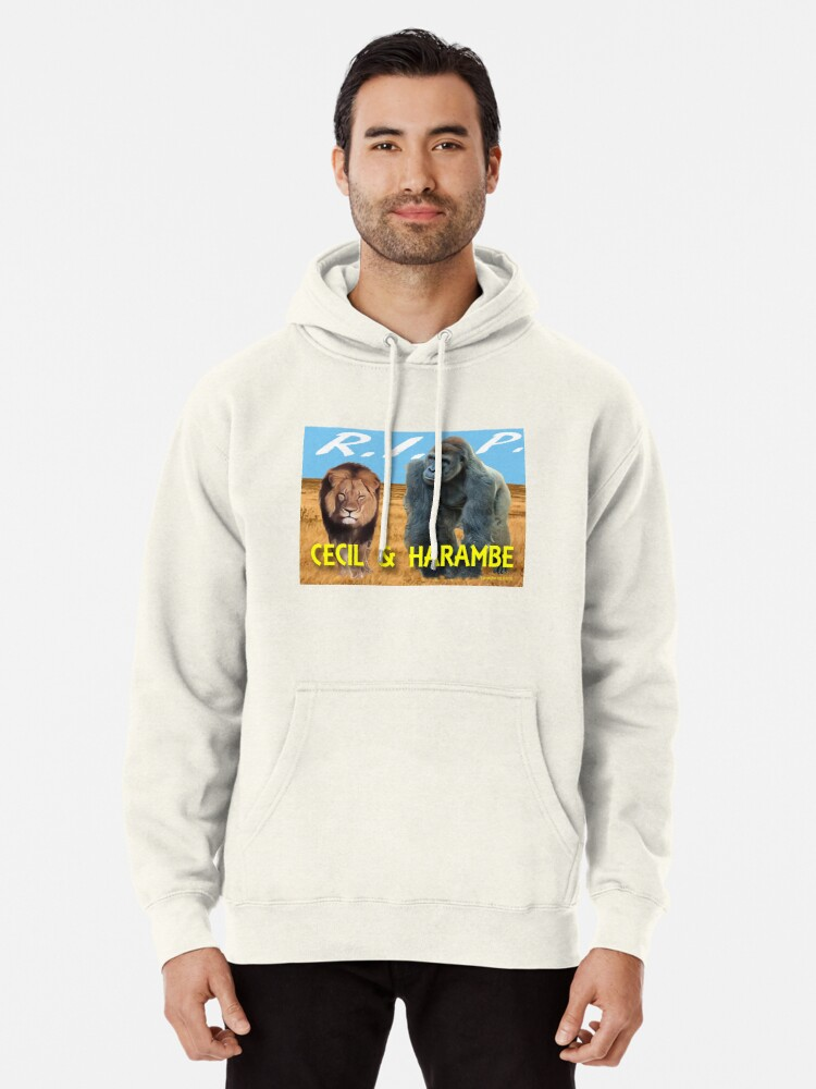 Alternate view of Cecil and Harambe R.I.P. Pullover Hoodie