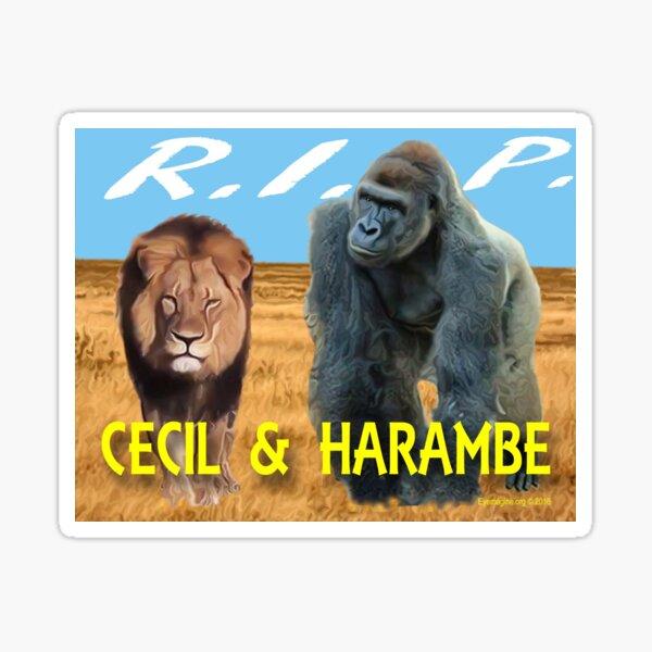 Cecil and Harambe R.I.P. Sticker
