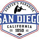 SURFING SAN DIEGO SURF CALIFORNIA SURFER'S PARADISE BEACH SURFBOARD by MyHandmadeSigns