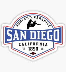SURFING SAN DIEGO SURF CALIFORNIA SURFER'S PARADISE BEACH SURFBOARD Sticker