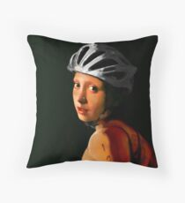 Girl with Pearl Earring Update- Triathelete Throw Pillow
