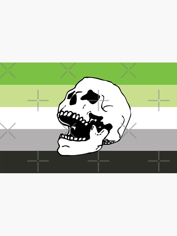 aromantic pride flag skull  by craftordiy