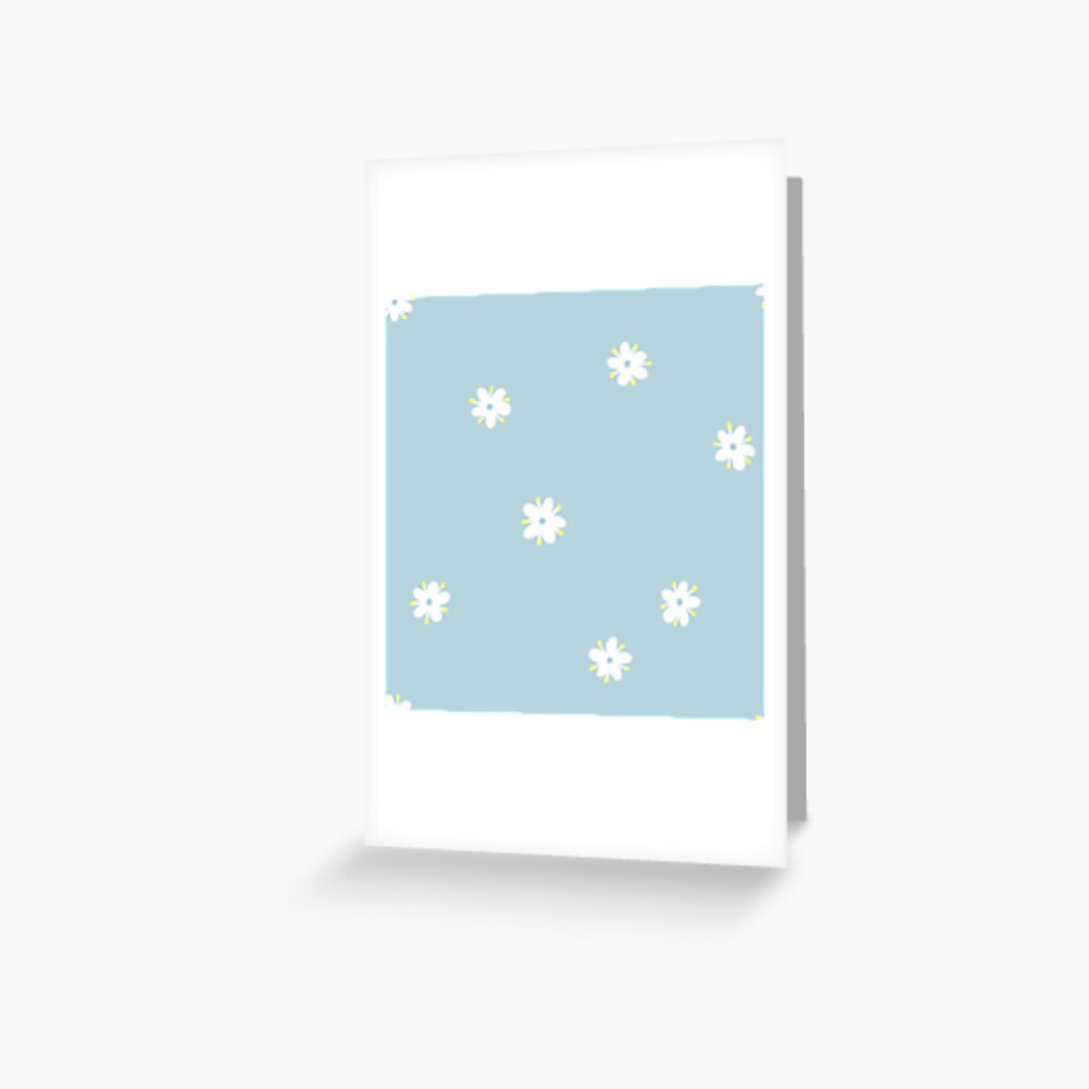 Elderflowers on baby blue, sparse Greeting Card