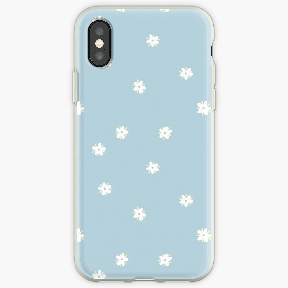 Elderflowers on baby blue, sparse iPhone Case & Cover