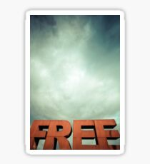 Capital letters FREE with cloudy sky Sticker
