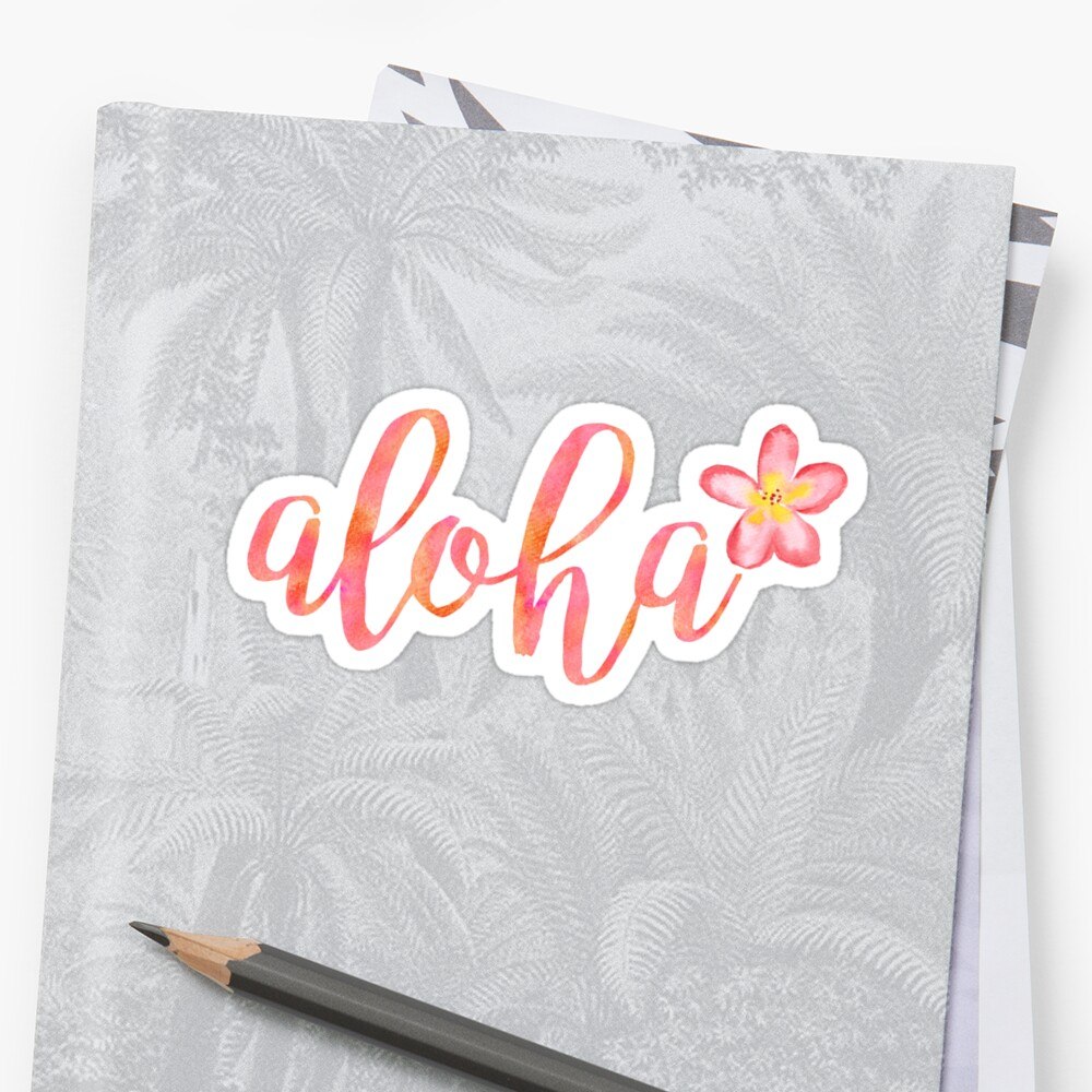 Aloha Hawaii Plumeria Watercolor Floral Sticker