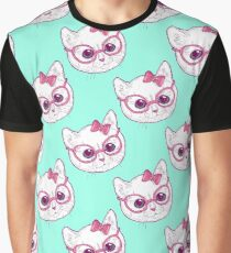 Kawaii kitty with glasses Graphic T-Shirt