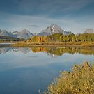 Tetons and Fall Colors Reflected in the Snake River by Jeff Goulden