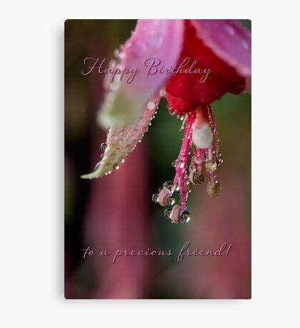 Fuchsia droplets birthday card Canvas Print