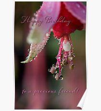 Fuchsia droplets birthday card Poster