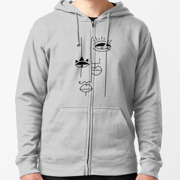 Minimalist cubism faces art Zipped Hoodie
