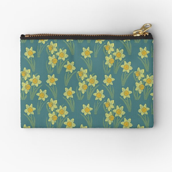 Spring Daffodil pattern with a dark turquoise background Zipper Pouch