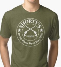Shorty's Saloon from Wynonna Earp in white Tri-blend T-Shirt