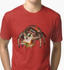 """Lunch on the Fly"" Jumping Spider Sandwich #2 Tri-blend T-Shirt"