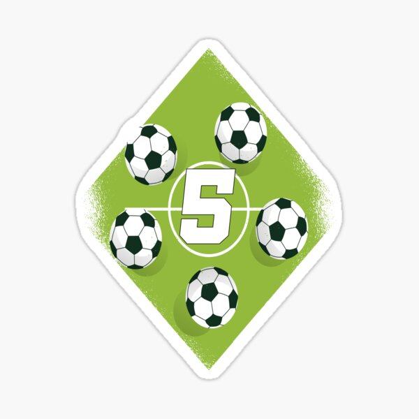 5th birthday boy soccer birthday 5 years old Sticker