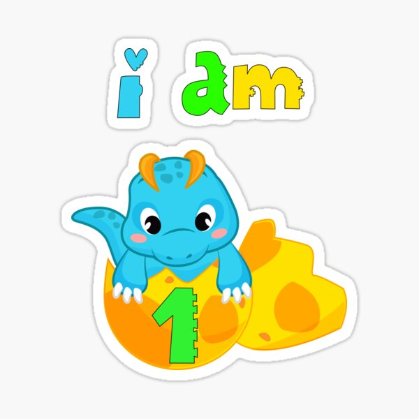 "1st birthday boy dino ""i am 1 year old"" Sticker"