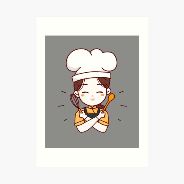 Funny Apron, Cute Woman Chef with Wood Kitchen Tools Art Print