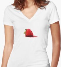Strawberry Death Women's Fitted V-Neck T-Shirt