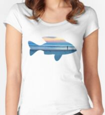 Fish & Seascape Fisherman Silhouette  Women's Fitted Scoop T-Shirt