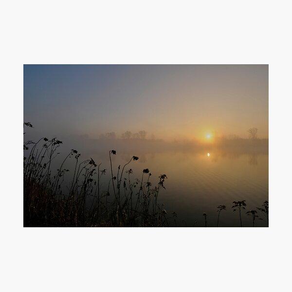 Lever de soleil et brume sur le Rhin Impression photo