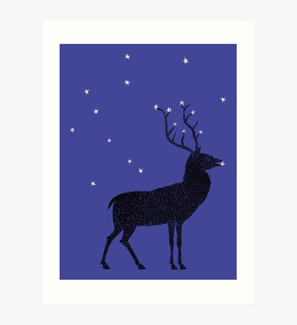 Stag grazing on the stars Art Print