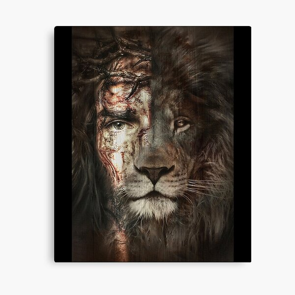 Jesus and lion Christian Gifts  Canvas Print
