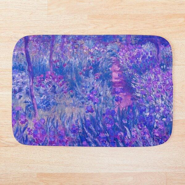Purple Claude Monet-Giverny Garden, Purple Flower Garden, Purple Monet Irises Bath Mat