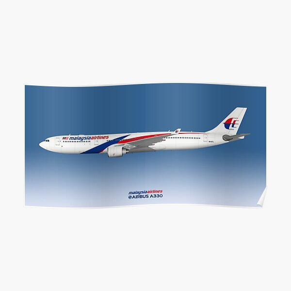 Illustration Of Malaysia Airlines Airbus A330-300 - Blue Version Poster