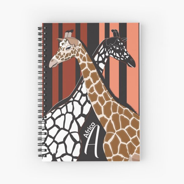 Colorful and monochrome African giraffe Spiral Notebook