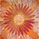 Sunrise Flower Design Lino Cut printed on fabric by Leonie Mac Lean