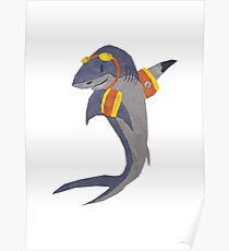 Swimming Shark Isolated Poster