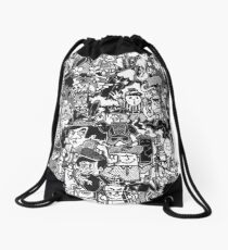 Black and White Graffiti Characters  Drawstring Bag