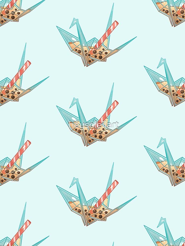 Glass Boba Origami Crane by heysoleilart