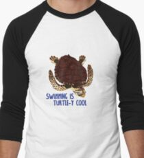 Swimming is Turtle-y Cool! Men's Baseball ¾ T-Shirt