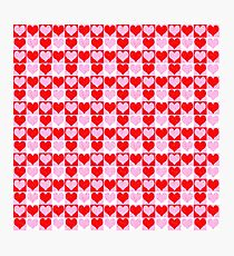 Love Heart Red Pink and White Check Pattern Photographic Print