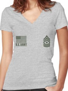 Sergeant Major Infantry US Army Rank Desert by Mision Militar ™ Women's Fitted V-Neck T-Shirt