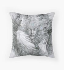 Fairy lady with white peacock and raven. Throw Pillow