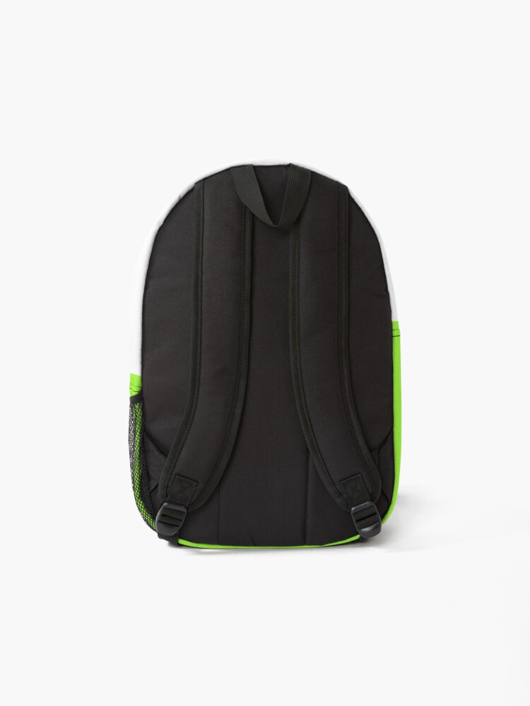 Alternate view of shhh be quiet I'm training v1 - GREEN font Backpack